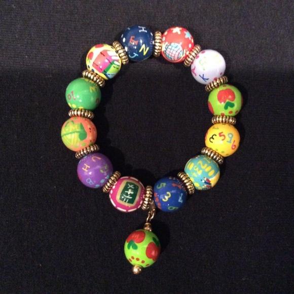"Angela Moore Jewelry - Angela Moore Hand-painted ""Teacher"" Bead Bracelet"